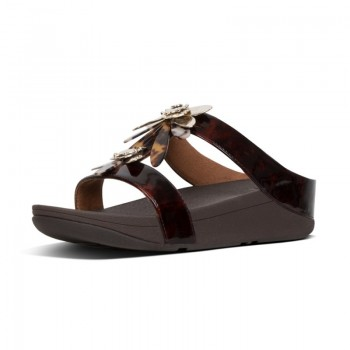 FitFlop Fino™ Slide Dragonfly Chocolate Brown