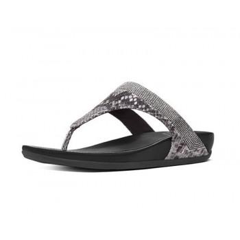 FitFlop Banda™ Crystal Imi-Snake Toe-Post Mink